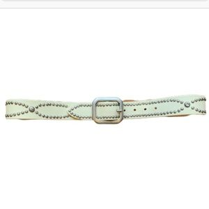 "Lucky Brand belt white studded leather 36"" EUC"